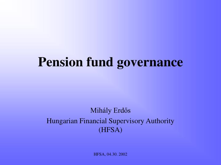 pension fund governance n.
