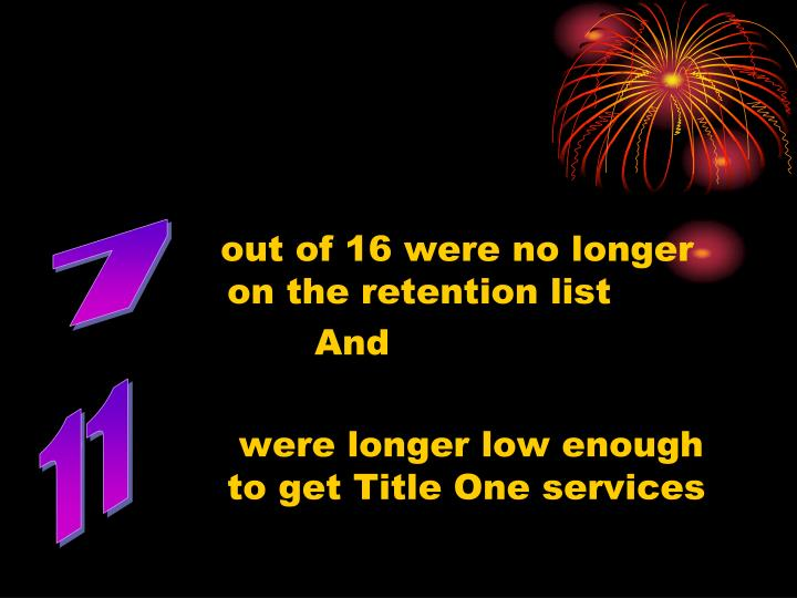 out of 16 were no longer               		on the retention list