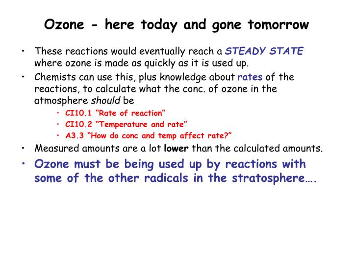 Ozone - here today and gone tomorrow