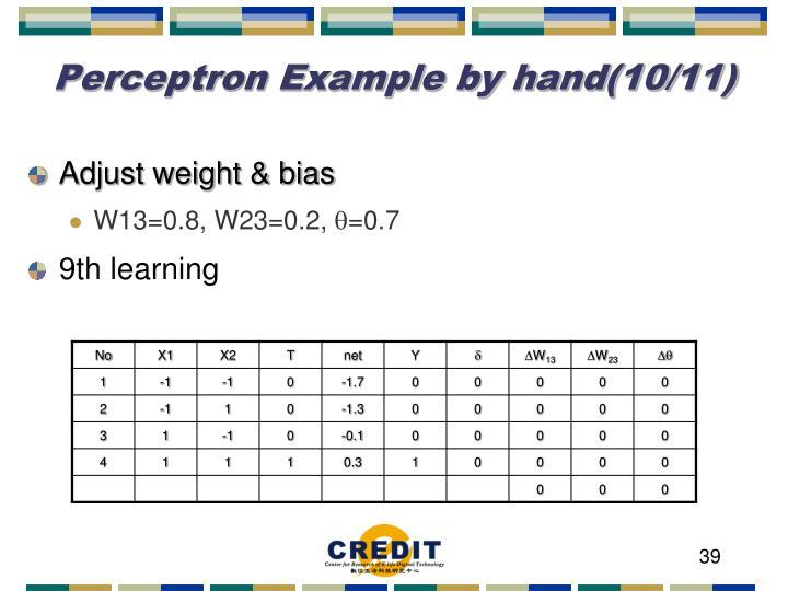Perceptron Example by hand(10/11)