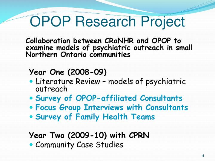 OPOP Research Project