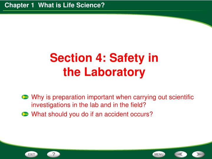 Section 4: Safety in