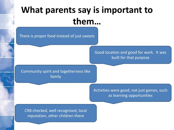 What parents say is important to them…
