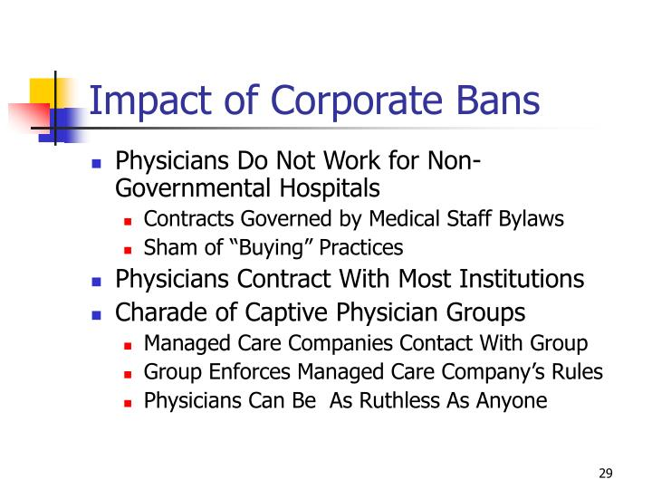Impact of Corporate Bans