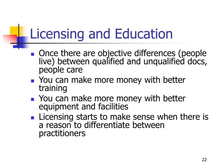 Licensing and Education