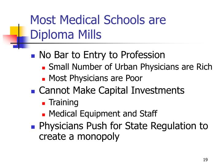 Most Medical Schools are Diploma Mills