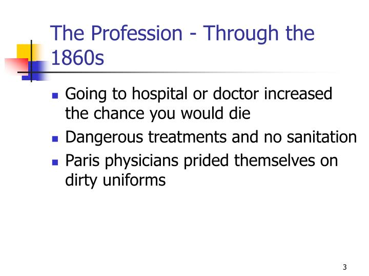 The profession through the 1860s