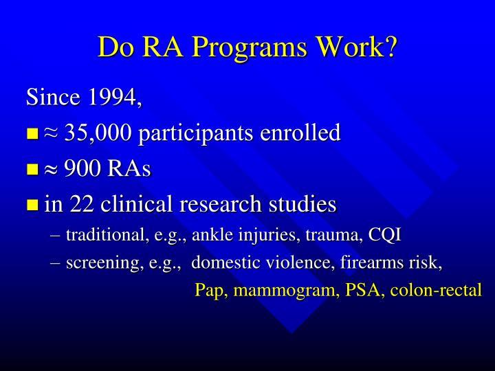 Do RA Programs Work?