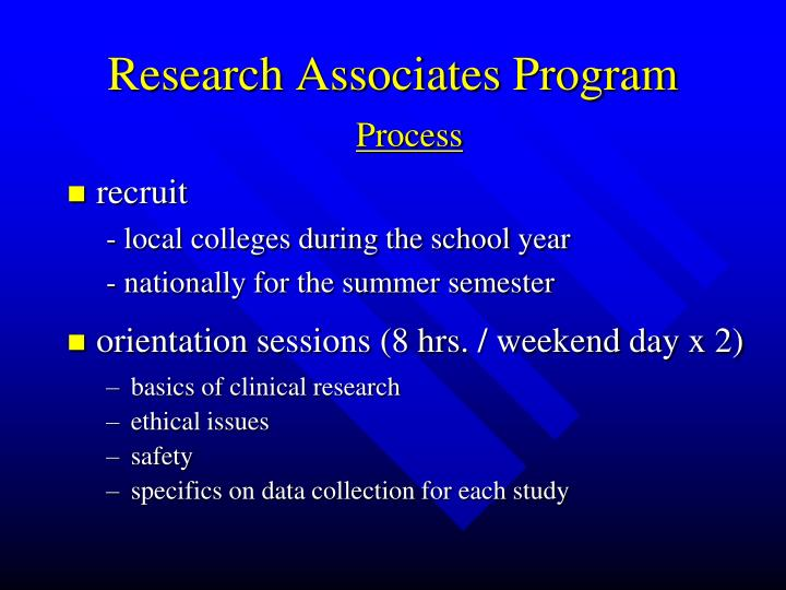 Research Associates Program
