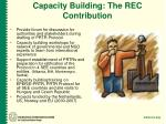 capacity building the rec contribution