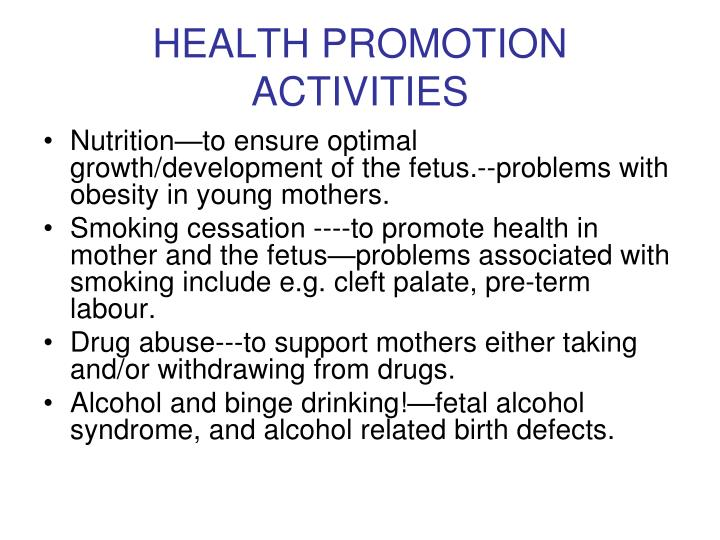HEALTH PROMOTION ACTIVITIES