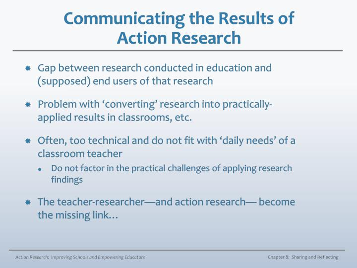Communicating the results of action research
