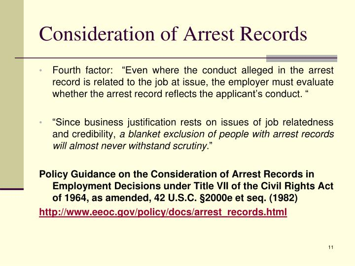 Consideration of Arrest Records