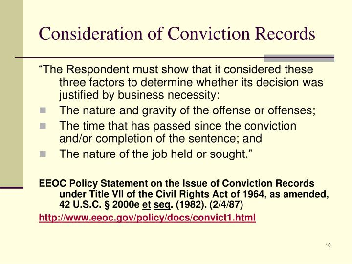 Consideration of Conviction Records