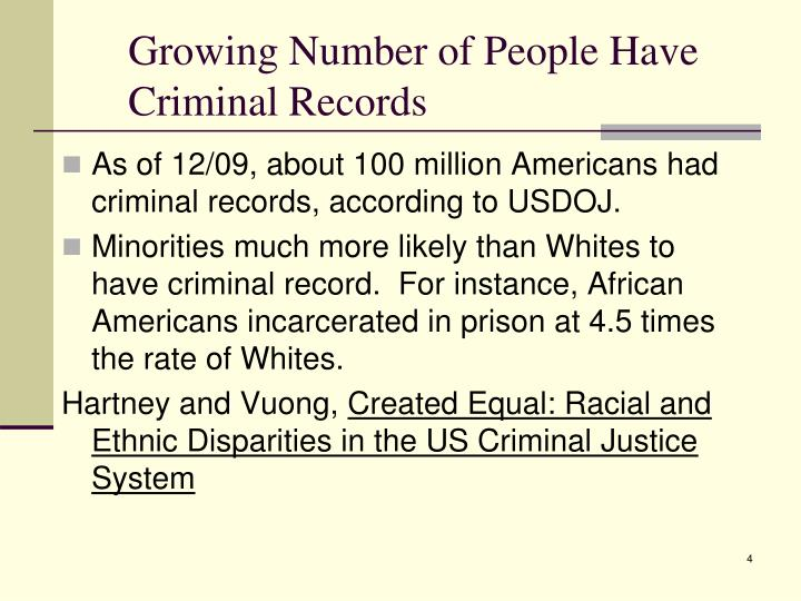 Growing Number of People Have Criminal Records