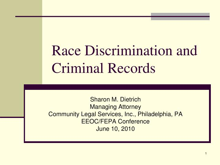 Race discrimination and criminal records