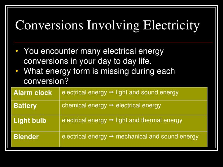 Conversions Involving Electricity