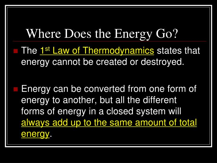 Where Does the Energy Go?