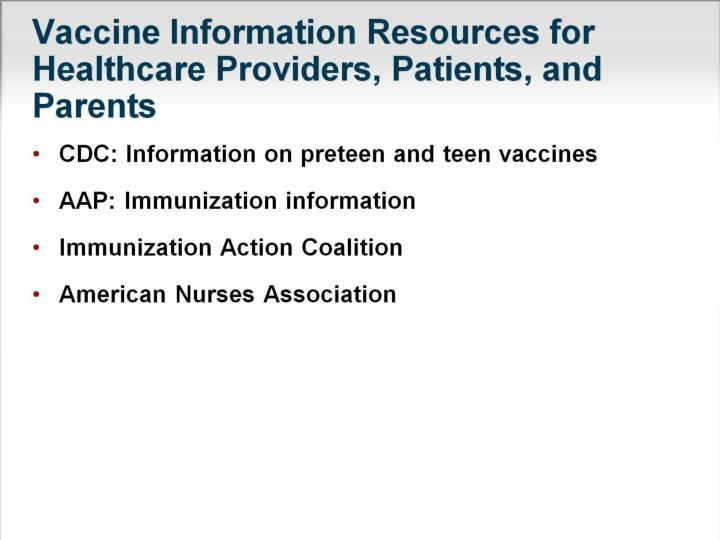 Vaccine Information Resources for Healthcare Providers, Patients, and Parents