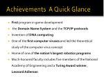 achievements a quick glance