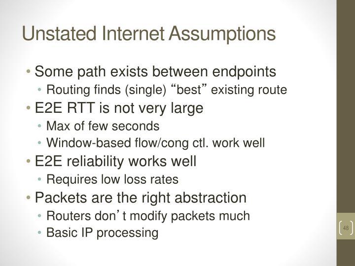 Unstated Internet Assumptions