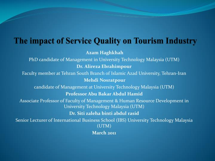 PPT - The impact of Service Quality on Tourism Industry