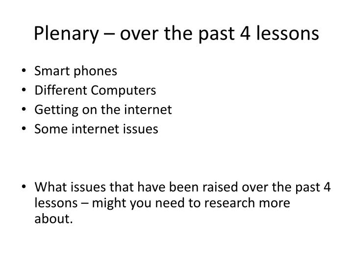 Plenary – over the past 4 lessons