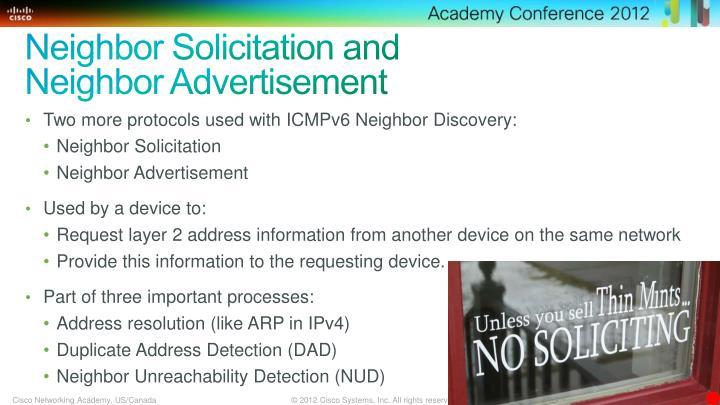 Neighbor Solicitation and Neighbor Advertisement