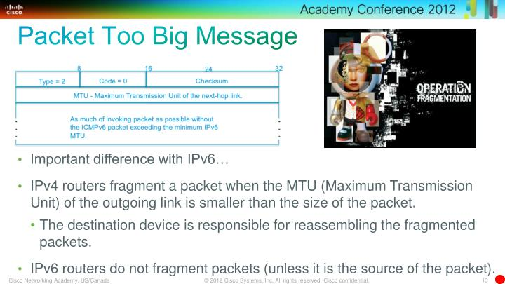 Packet Too Big Message