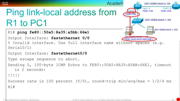 Ping link-local address from R1 to PC1