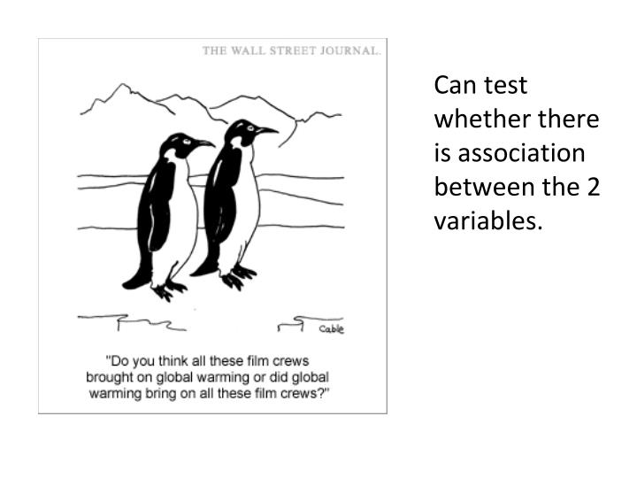 Can test whether there is association between the 2 variables.