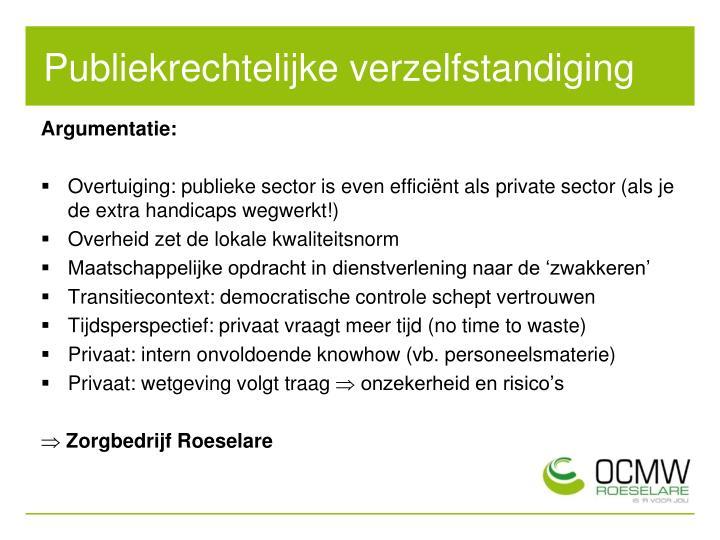 Publiekrechtelijke verzelfstandiging