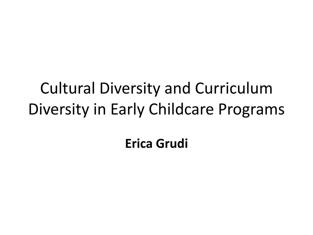 cultural diversity in early childhood