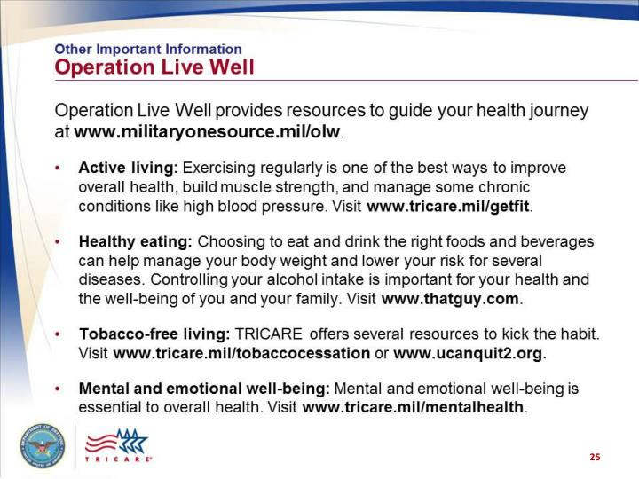 Other Important Information: Operation Live Well