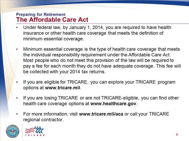 Preparing for retirement the affordable care act