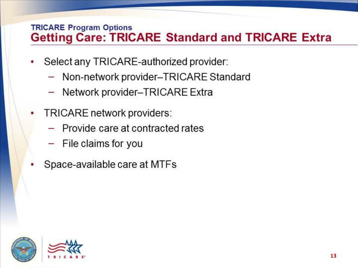 TRICARE Program Options: Getting Care: TRICARE Standard and TRICARE Extra