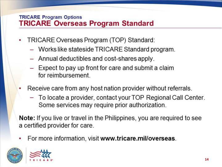 TRICARE Program Options: TRICARE Overseas Program Standard