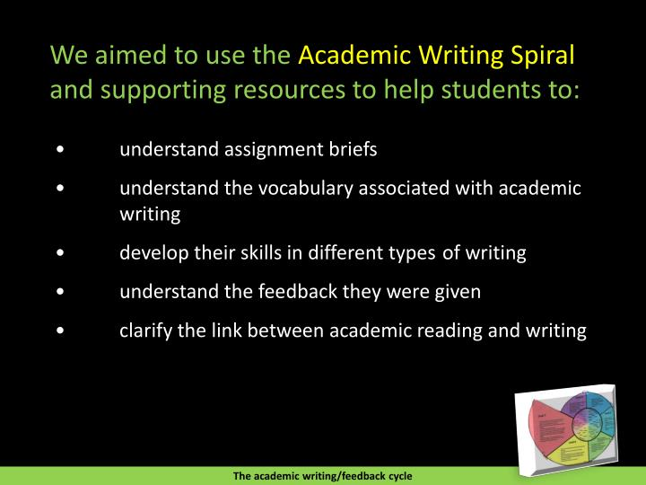 the academic writing Academic writing and publishing is conducted in several sets of forms and genres this article provides a short summary of the full spectrum of critical and academic writing and lists the genres of academic writing.