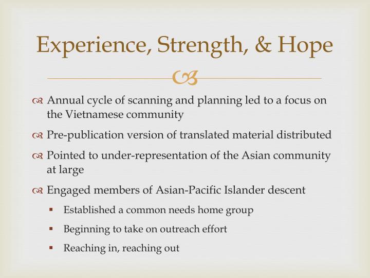 Experience, Strength, & Hope