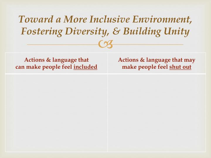 Toward a More Inclusive Environment, Fostering Diversity, & Building Unity
