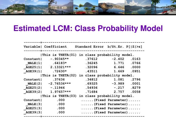 Estimated LCM: Class Probability Model