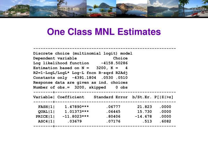 One Class MNL Estimates