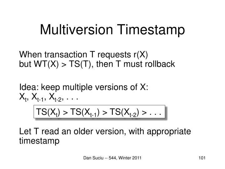 Multiversion Timestamp