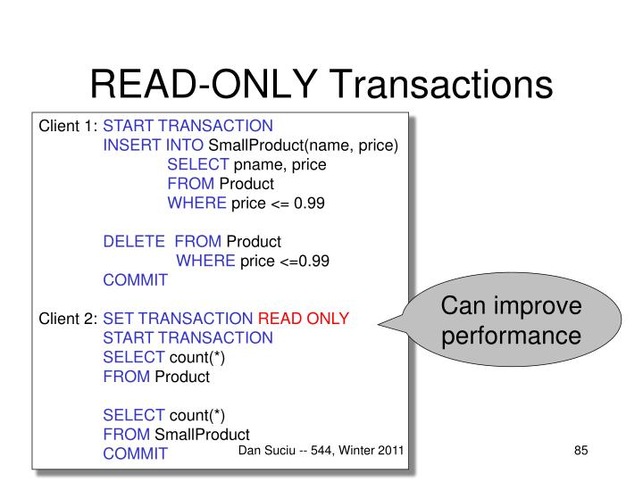 READ-ONLY Transactions