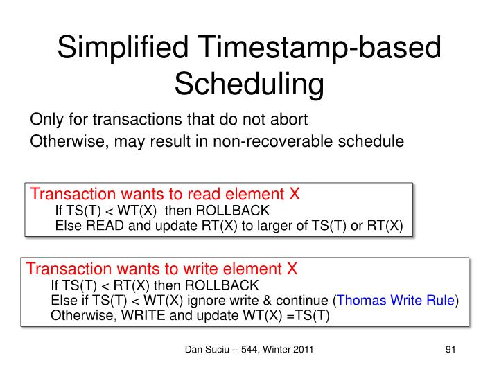 Simplified Timestamp-based Scheduling