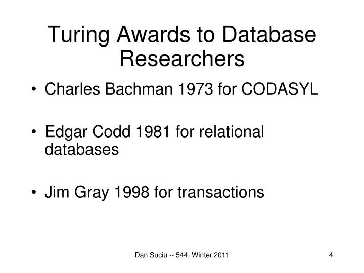 Turing Awards to Database Researchers