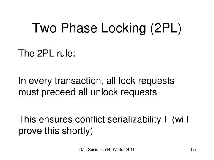 Two Phase Locking (2PL)