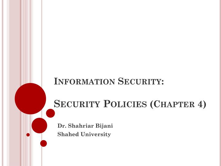 information security security policies chapter 4 n.