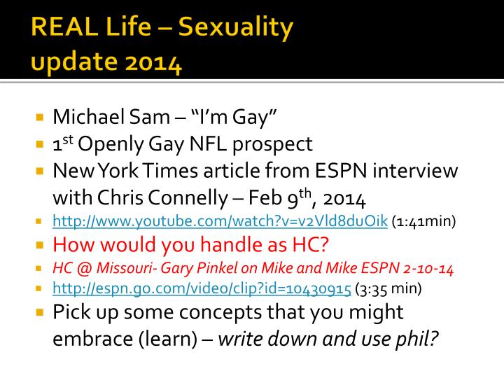 Real life sexuality update 2014
