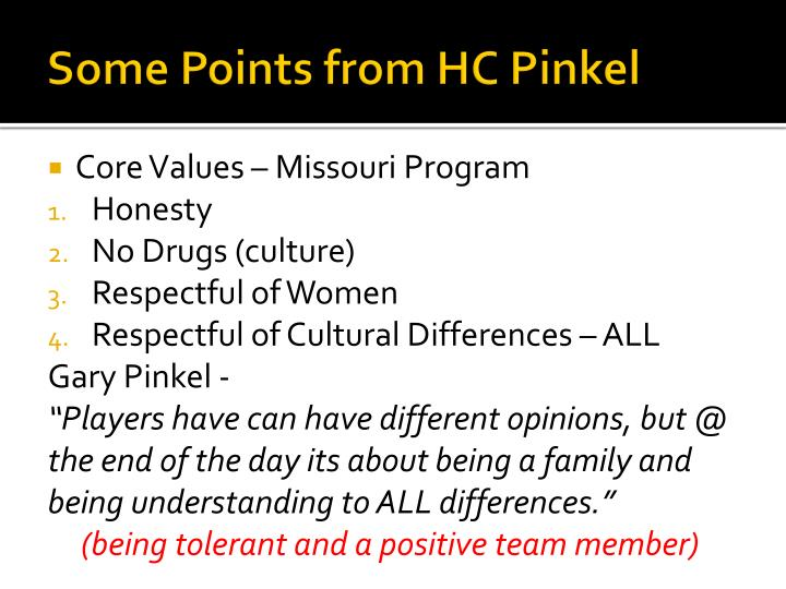Some points from hc pinkel